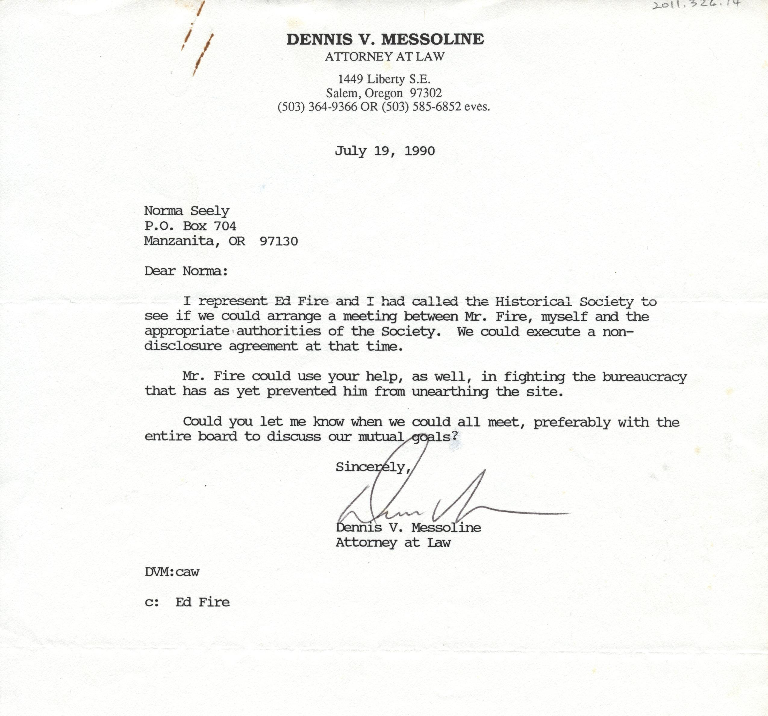letter to norma seely from dennis v messoline ed fire 39 s attorney nehalem valley historical