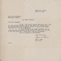 Letter from Mayor Ben S. Lane to Alice Kavanaugh